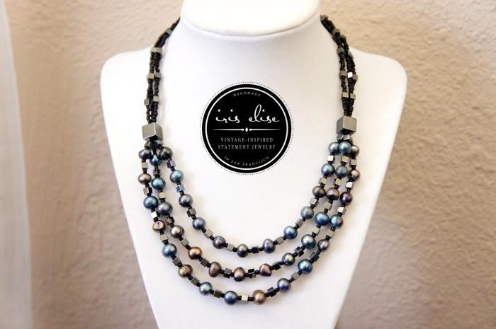 black pearl bib necklace